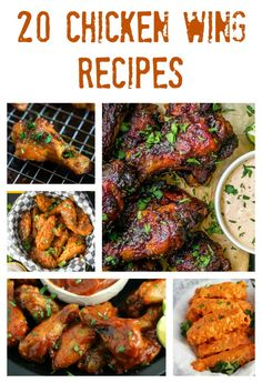 Chicken wings are a delicious appetizer, snack, dinner or party food that everyone enjoys. If you are craving wings, then check out these mouthwatering chicken wing recipes, featuring hot wings, garlic parmesan wings, honey bbq wings, buffalo wings, chipotle wings, barbecue wings, spicy wings, sweet wings, honey sriracha wings, baked wings, slow cooker wings, traditional wings, boneless wings and more.  - 20 Chicken Wing Recipes on Sugar, Spice and Family Life