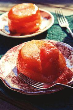 Grapefruit suspended in orange-liqueur-spiked gelatin
