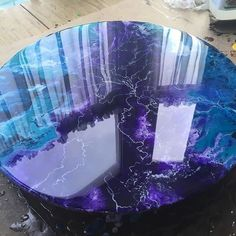 Purple, blue black, with silver lightening design - Epoxy Resin Epoxy Resin Table, Epoxy Resin Art, Wood Resin, Acrylic Resin, Acrylic Art, Resin Table Top, Resin Furniture, Diy Purple Furniture, Acrylic Pouring Art