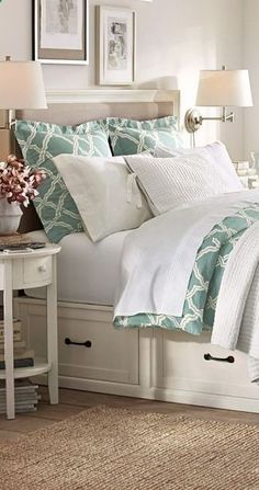 Kendra Trellis Collection #bedrooms...I like the storage space under the bed and the two lamps on the wall..