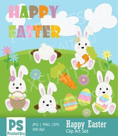 Happy Bunny Easter Clip Art Graphics This listing is for Happy Easter Digital Clip Art Graphics Set. This digital clip art is perfect for by PixelaitStu Easter Illustration, City Illustration, Happy Easter, Easter Bunny, Easter Traditions, Happy Design, Easter Crafts, Handmade Crafts, How To Draw Hands