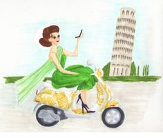 SimplyTABA knows how much I love a scooter.  So, she illustrated me on one…riding through Italy of course.