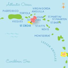 St. Croix, USVI  Caribbean Honeymoons    Just east of Puerto Rico -- and south of sister islands St. Thomas and St. John -- rises the largest of the U.S. Virgin Islands: The 82 pastoral square miles of St. Croix.