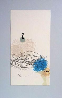 """Bea Mahan - """"Z"""" (2011) - 31cm x 21cm (12,2in x 8,3in) Collage, monotipo y lápiz sobre cartón"""