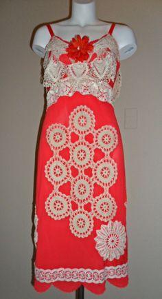 Lingerie Slip Dress Crochet Embellished Orange by ByKatDesigns