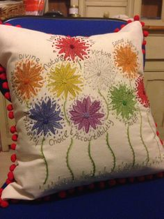 Created this cushion panel for the Woodley Ward Young Women......remembering our values X