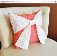Items similar to Throw Pillow, White Bow on Coral Pillow Coral Home Decor, Decorative Throw Pillows on Etsy Coral Pillows, Bow Pillows, Diy Throw Pillows, Decorative Throw Pillows, Coral Home Decor, Blue Dahlia, Baby Nursery Decor, Color Schemes, Color Combos