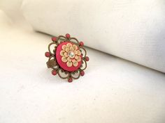 Beige Floral Ring Dusty Pink Ring Cocktail Ring от TunicBotik