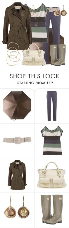 """DÍAS DE LLUVIA"" by outfits-de-moda2 ❤ liked on Polyvore featuring Etro, A.P.C., Clarks, Burberry, Marc Jacobs, Kimberly McDonald and Nicole Miller"