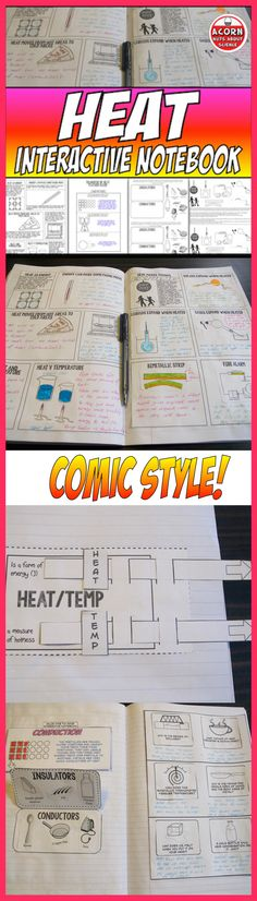 Great for your INB! ✔ Heat and Temperature Slider ✔ Heat and Temperature Comic - With these comics students read a supplied text and then make their own comic using the images supplied. A differentiated version is included. This will really let their creativity loose! ✔ Expansion of Solids, Liquids and Gases Comic ✔ Transfer of Heat Comic ✔ Conductors and Insulators ✔ Heat and Water ✔ Heat Facts Game