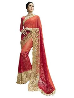 Shoppingover Indian Ethnic Stone Work embroidered Party wear Saree with Blouse-Orange Color Ethnic Sarees, Designer Wear, Designer Sarees, Prom Dresses, Formal Dresses, Georgette Sarees, Saree Styles, Party Wear Sarees, Indian Ethnic