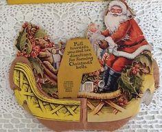 Vtg 1920's Christmas Santa Sleigh Beistle Honeycomb Cardboard Card Decoration   eBay