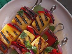 Grilled Fruit and Vegetable Kabobs recipe from Nancy Fuller via Food Network