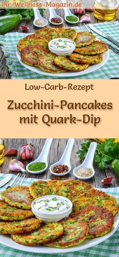 Low Carb Zucchini Pfannkuchen mit Quark Dip – herzhaftes Pfannkuchenrezept Low carb zucchini pancakes with curd dip – hearty pancake recipe Healthy Chicken Recipes, Paleo Recipes, Low Carb Recipes, Dinner Recipes, Quark Recipes, Paleo Food, Pancake Recipes, Mexican Recipes, Pizza Recipes