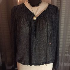 Guess Dark Navy Dot Pattern Blouse Lovely sheer dark navy blouse patterned with various sized white dots from Guess.  I love the shape of this top!  In excellent condition. Made of polyester. Guess Tops Blouses