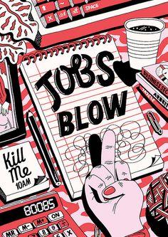 Jobs Blow - Kate Prior Line Illustration, Digital Illustration, Retro Design, Design Art, Hiring Poster, Design Poster, Ex Libris, Illustrations And Posters, Grafik Design