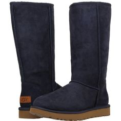 UGG Classic Tall II (Navy) Women's Boots ($200) ❤ liked on Polyvore featuring shoes, boots, mid-calf boots, high boots, navy boots, platform shoes, short high heel boots and tall fur boots