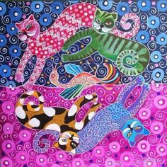 Colorful kitties. Batik style