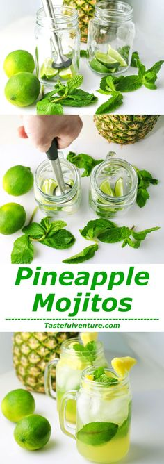 Pineapple Mojitos-I love Pineapple, so I decided to make a Pineapple Mojito. This drink has the perfect balance of sweetness with the Pineapple,… Summer Cocktails, Cocktail Drinks, Cocktail Recipes, Non Alcoholic Drinks, Beverages, Liquor Drinks, Party Drinks, Sangria, Mojito Mocktail