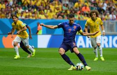 On the mark: Holland captain Robin van Persie gave them the lead with an early penalty in . World Cup 2014, Fifa World Cup, Brazil Team, Word Cup, International Soccer, Van Persie, Soccer Players, Running, Baseball Cards