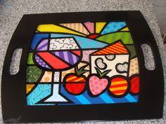 Bandeja Estilo Romero Britto Pintura Country, Arte Popular, Pop Art, Cube, Tableware, Painting, Maxis, Trays, Google