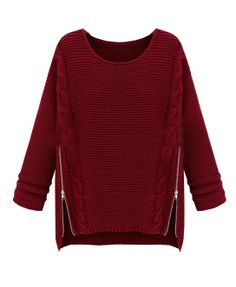 Zipper Side Cable Knit Sweater - Clothing