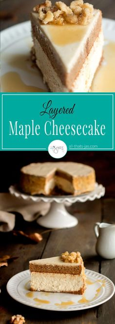 This decadent fall maple cheesecake is topped with a spice cake layer and it's a perfect addition to your Thanksgiving table spread. | www.allthatsjas.com
