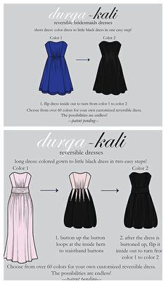 the perfect bridesmaids dress for wearing again! blue dress for the wedding, flip it inside out and voila, black dress for a night out on the town #bridesmaid #dress #wearitagain http://www.durga-kali.com/