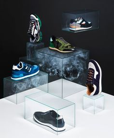 Glass Shoe Displays // Carl Kleiner for T Magazine 'Shoes and smoke'
