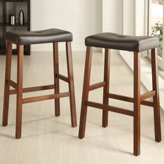 TRIBECCA HOME Nova Cherry Saddle Cushioned Seat 29-inch Bar Stools (Set of 2)  $81! 29 inches high