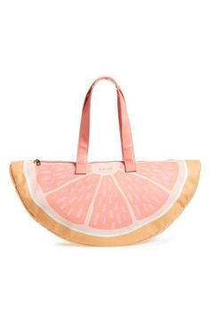 Arrive at your next beach party in colorful style with this grapefruit wedge–shaped cooler bag that will keep your food and drinks nice and chilled.