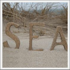 Letters made of sea sand. fun way to use memory sand