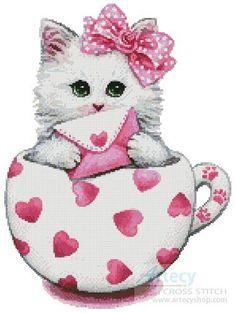 Valentine Kitty Cup - cross stitch pattern designed by Tereena Clarke. Category: Cats.