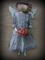 The Cheswick Company Love the dress! Angel Wings Decor, Angel Art, Christmas Angels, Christmas Stockings, Christmas Ornaments, Angels In Heaven, Heavenly Angels, Primitive Doll Patterns, Angels Among Us