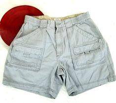 St Johns Bay Mens Cargo Shorts Size 38 Gray Elastic Waist Button Zip Fly o673 #StJohnsBay #Cargo