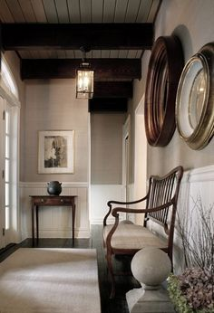 Entrance grand // color // beadboard wainscoting // dining room
