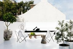Rooftop balcony from monochrome makeover of Sydney terrace by Pamela Makin of Les Interieurs. Photo: Felix Forest | Story: Belle
