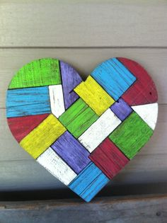 """Patchwork Quilt Reclaimed Wood Heart 12""""x12"""""""
