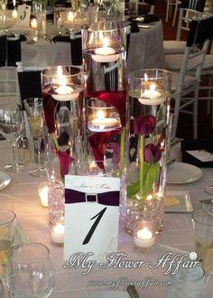 Wedding flowers and custom linens by My Flower Affair.  www.myfloweraffair.com… wedding flowers,  wedding decor, wedding flower centerpiece, wedding flower arrangement.