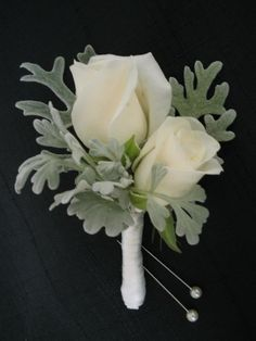 Roses & Dusty Miller ~ Would be really lovely for a 25th Anniversary with the soft hint of silvery gray.
