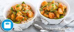 curry met garnalen. Lekker light recept
