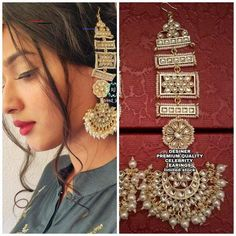 Bollywood Indian Long earrings jadau Kundan earring with Kanchain Gold-Toned Cla. - Bollywood Indian Long earrings jadau Kundan earring with Kanchain Gold-Toned Classic Jhumki Jhumka - Western Earrings, Indian Earrings, Indian Jewelry, Jhumki Earrings, Stud Earrings, Jewelry Ads, Jewelry Stores, Bridal Jewelry, Beaded Jewelry