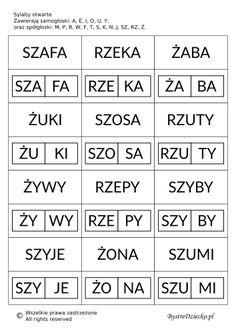 Proste wyrazy z podziałem na sylaby otwarte do nauki czytania metodą sylabową Polish Language, Syllable, Speech Therapy, Kids Learning, Montessori, Homeschool, Letters, Teaching, Writing