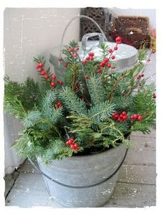 Christmas On The Front Porch ~~~ So simple yet an elegant display of greenery. … – The Best DIY Outdoor Christmas Decor Christmas Porch, Noel Christmas, Primitive Christmas, Country Christmas, Outdoor Christmas, Christmas Projects, Winter Christmas, Vintage Christmas, Christmas Wreaths