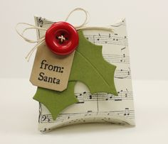 Wrap up small treats in a Square Pillow Box like this one made by My Favorite Things!  We recommend Echo Park's Music Notes cardstock to replicate this project!  Find it now at www.cardstockshop.com.