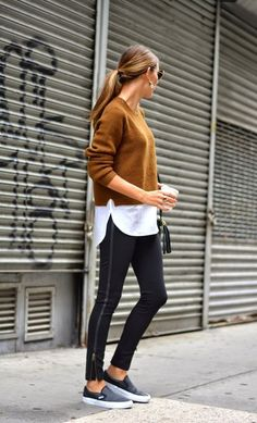 Photo via: The Quarter Life Closet When going to grab a quick coffee, you don't always want to take the time to get out of your comfortable clothing. Luckily, the athleisure trend is going strong and