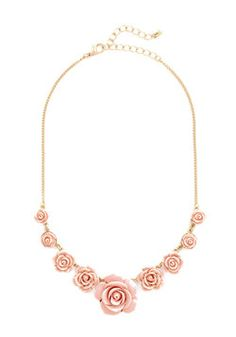 Bead of Roses Necklace in Petal. The livin is chic and easy when this rose-decked necklace gracefully accessorizes your elegant ensembles! #coral #wedding #modcloth