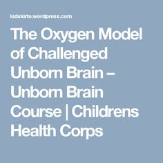 The Oxygen Model of Challenged Unborn Brain – Unborn Brain Course   Childrens Health Corps