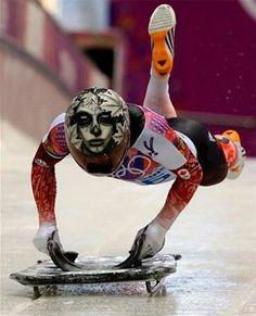 Coolest helmet! Canada's Sarah Reid, #Sochi2014 Olympics - Women's Skeleton Race.