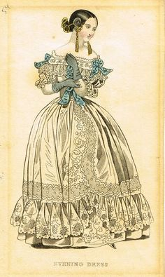 """Lady's Cabinet Fashion Print - c1840 - """"BLUE EVENING DRESS"""" - Hand-Colored…"""